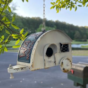 Hanging Camper Birdhouse with License Plate Vintage Style