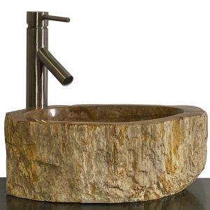 Bathroom Counter Top Petrified Wood Vessel Basin Sink NX 35